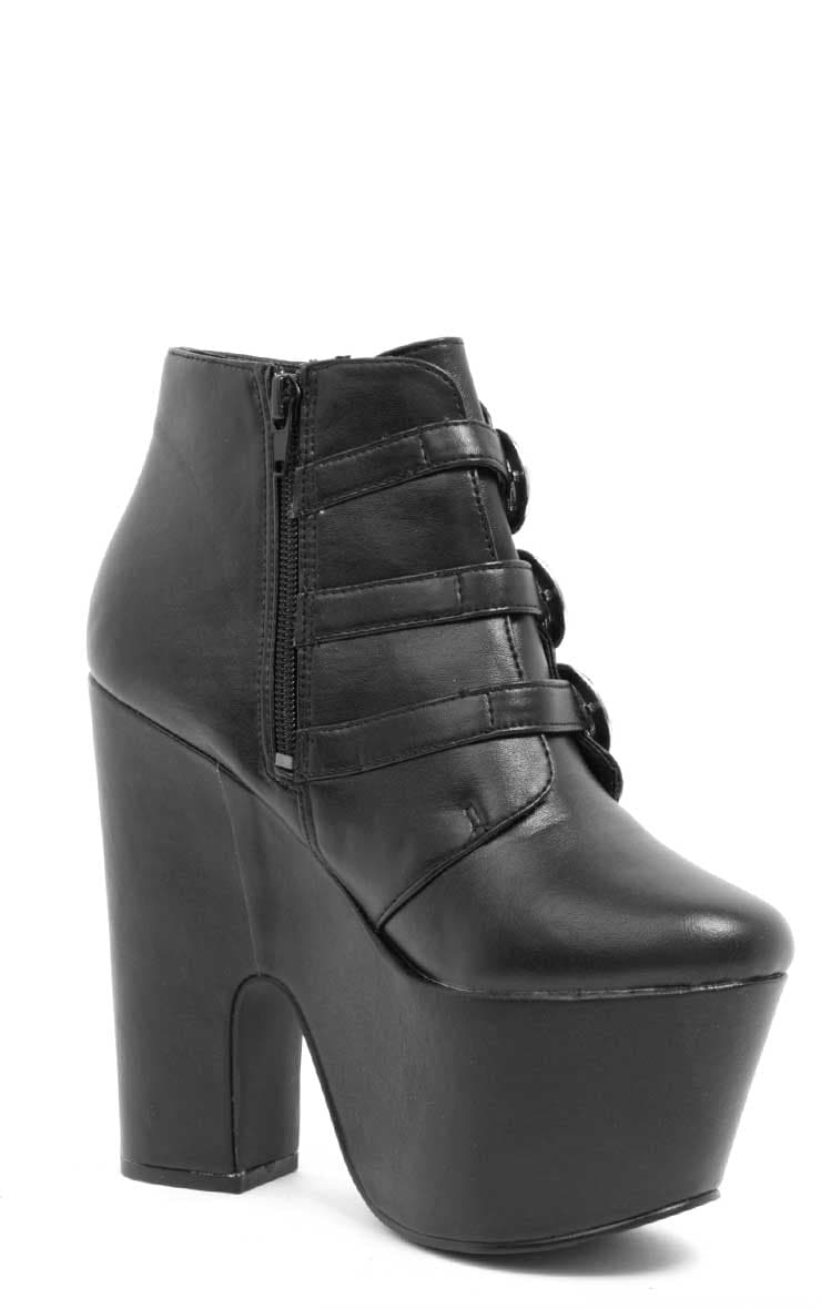 Skylar Black Leather Platform Boots 2