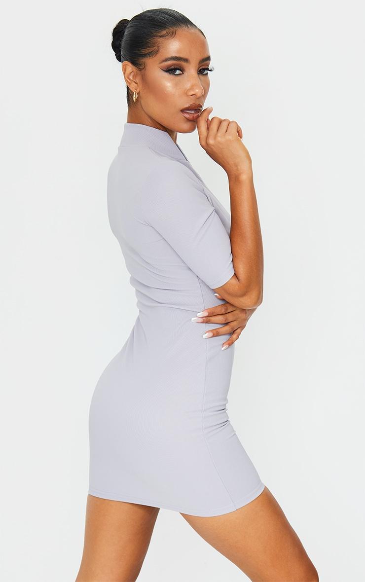 Grey Zip Front Rib Short Sleeve Bodycon Dress 2