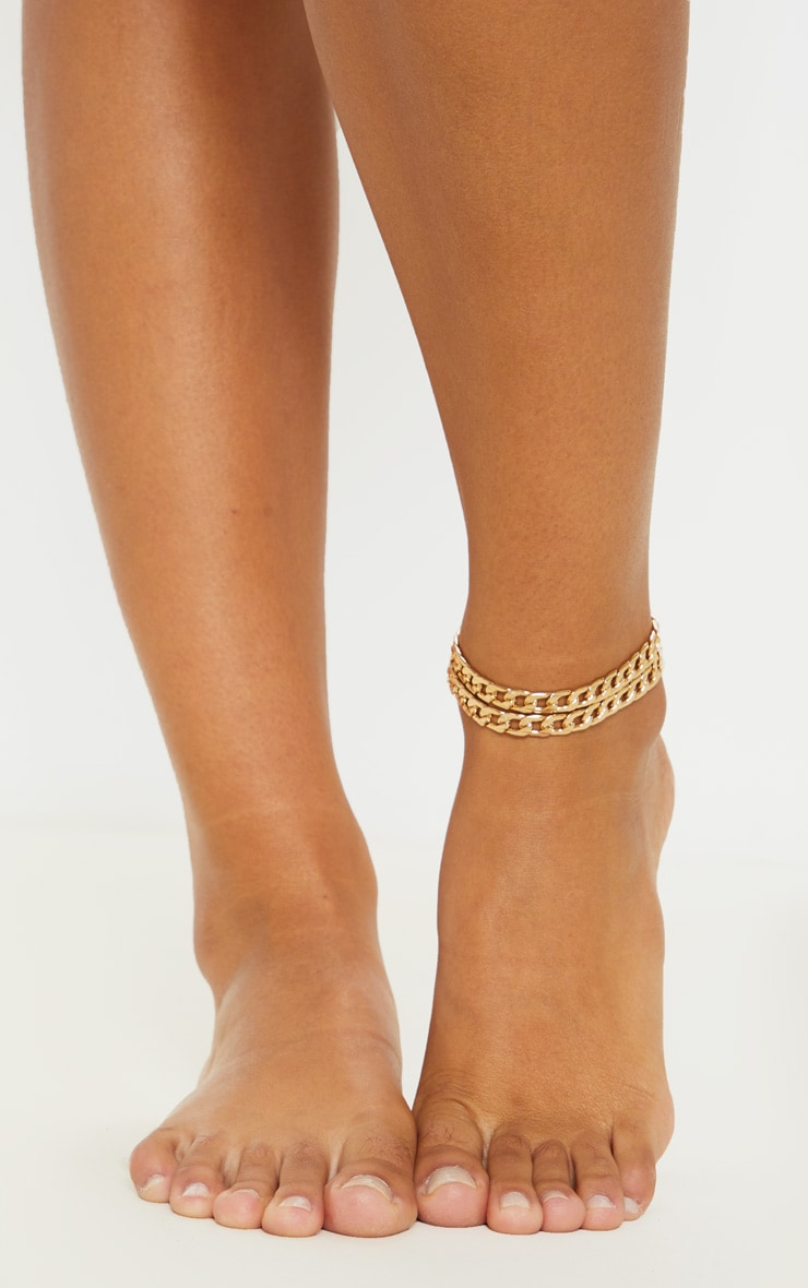 Gold Double Chain Anklet 1