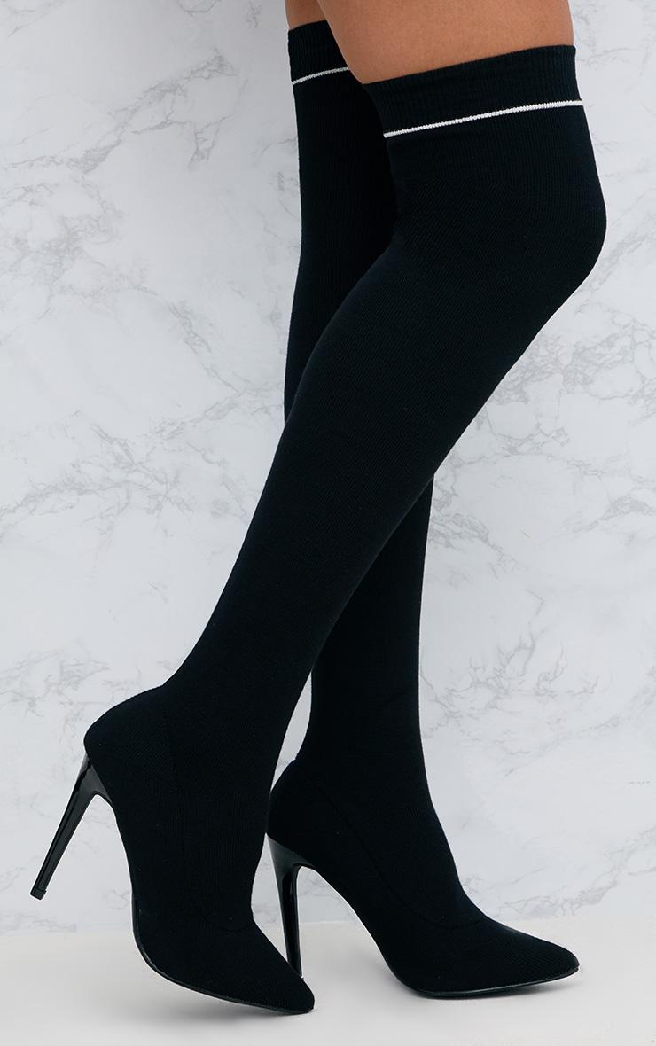 Black Sports Stripe Thigh High Sock Boot 1