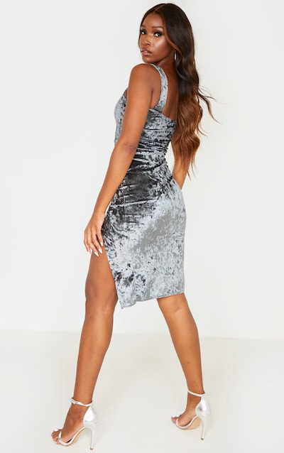 Grey Crushed Velvet Square Neck Split Front Midi Dress