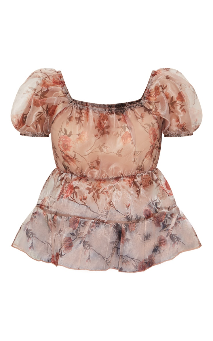 Petite Pink Floral Puff Sleeve Organza Blouse 6