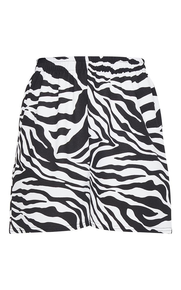 Monochrome Zebra Print Oversized Floaty Shorts 6