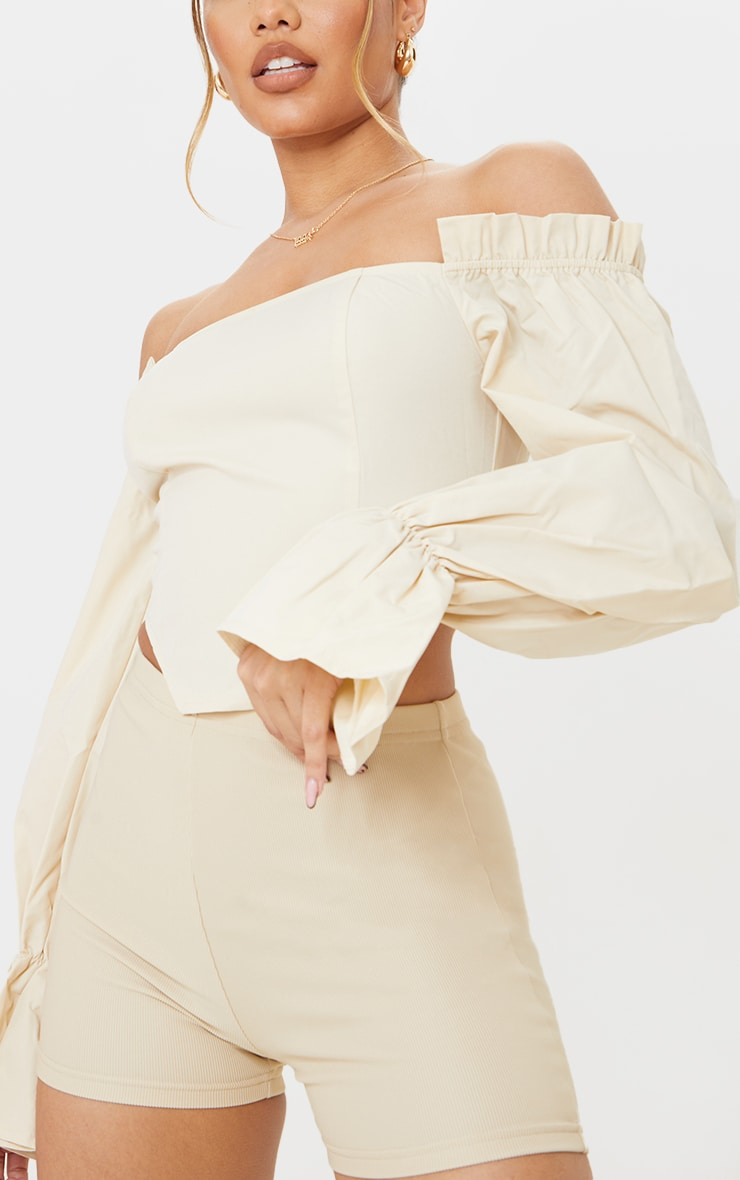 Cream Cotton Bardot Frill Sleeve Crop Top 4