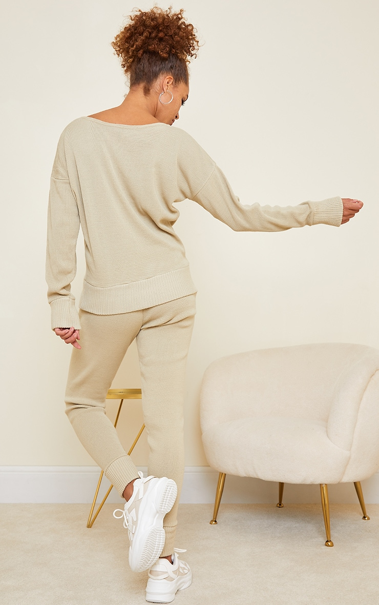 Auriel Stone Jogger Knitted Lounge Set 2