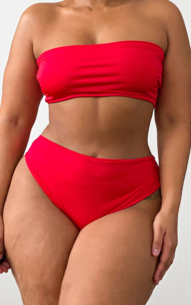 Plus Red Mix & Match Bandeau Bikini Top 4