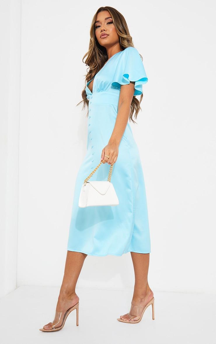 Blue Satin Plunge Button Detail Midi Dress 3