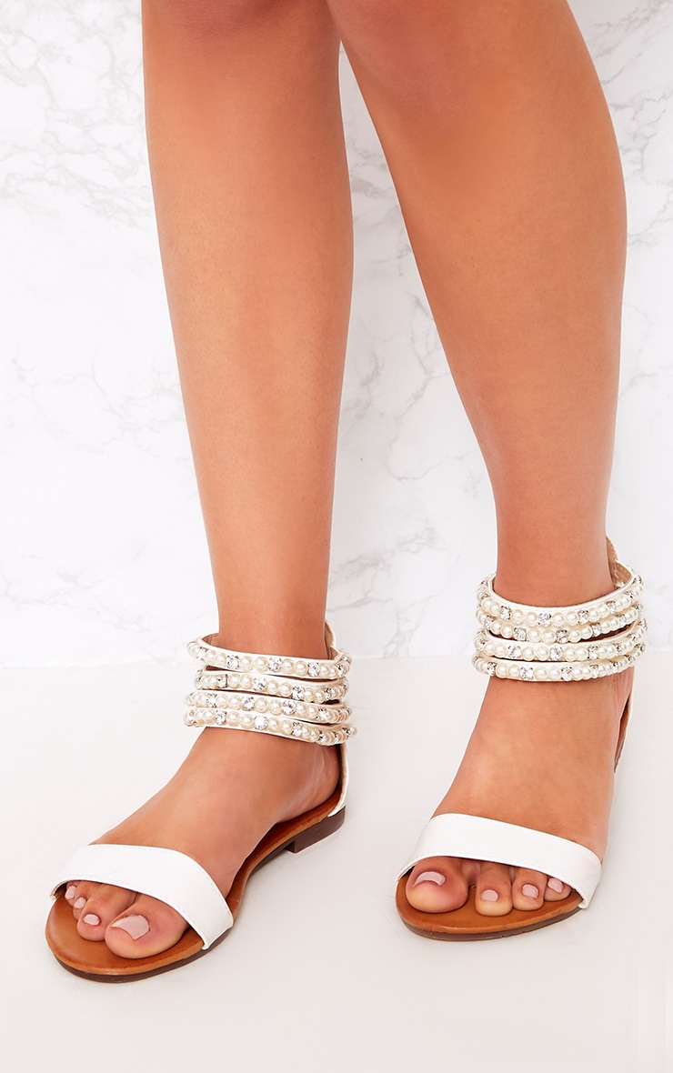 Paloma Cream Pearl Strap Sandals  1