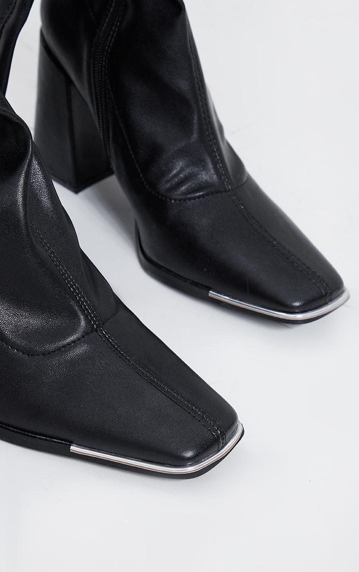 Black PU Toe Cap Square Toe Calf Heeled Sock Boots 4