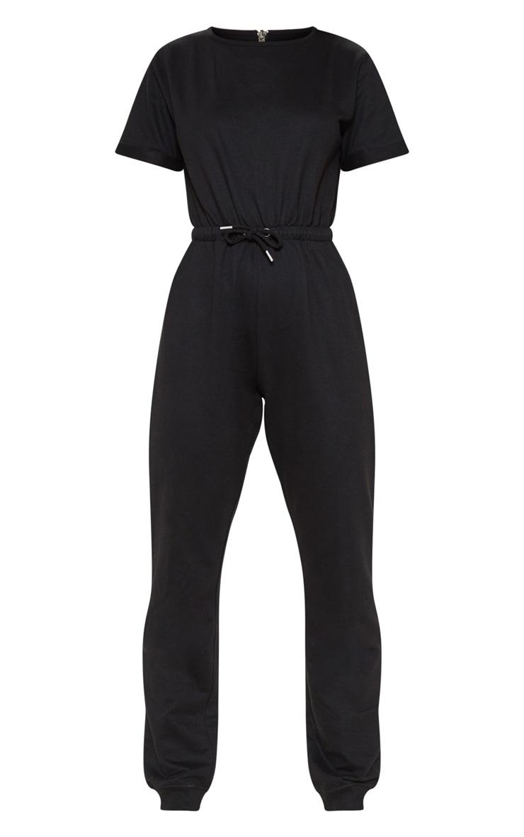 Black Sweat Short Sleeve Track Pant Jumpsuit 3