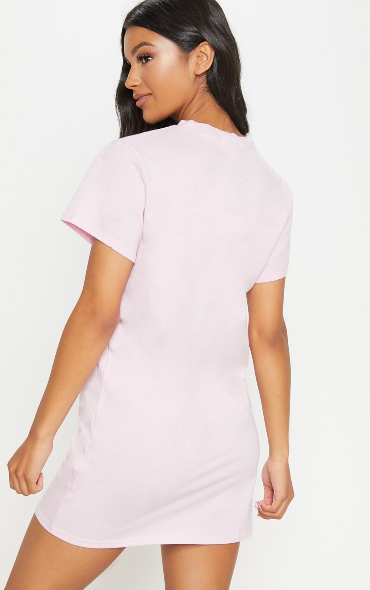 Pastel Pink Be Nice Embroidered T Shirt Dress 2