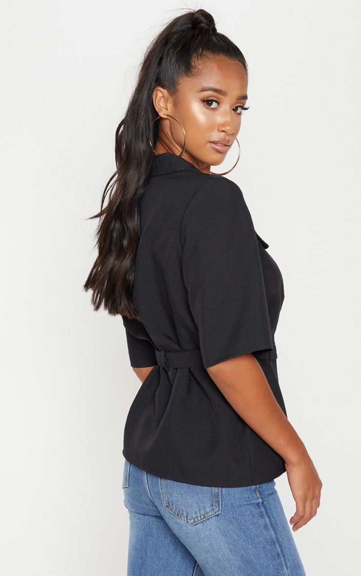 Petite Black Cargo Pocket Detail Tie Waist Shirt 2