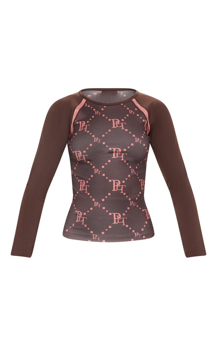 Chocolate PRETTYLITTLETHING Monogram Print Long Sleeve  Gym Top 3