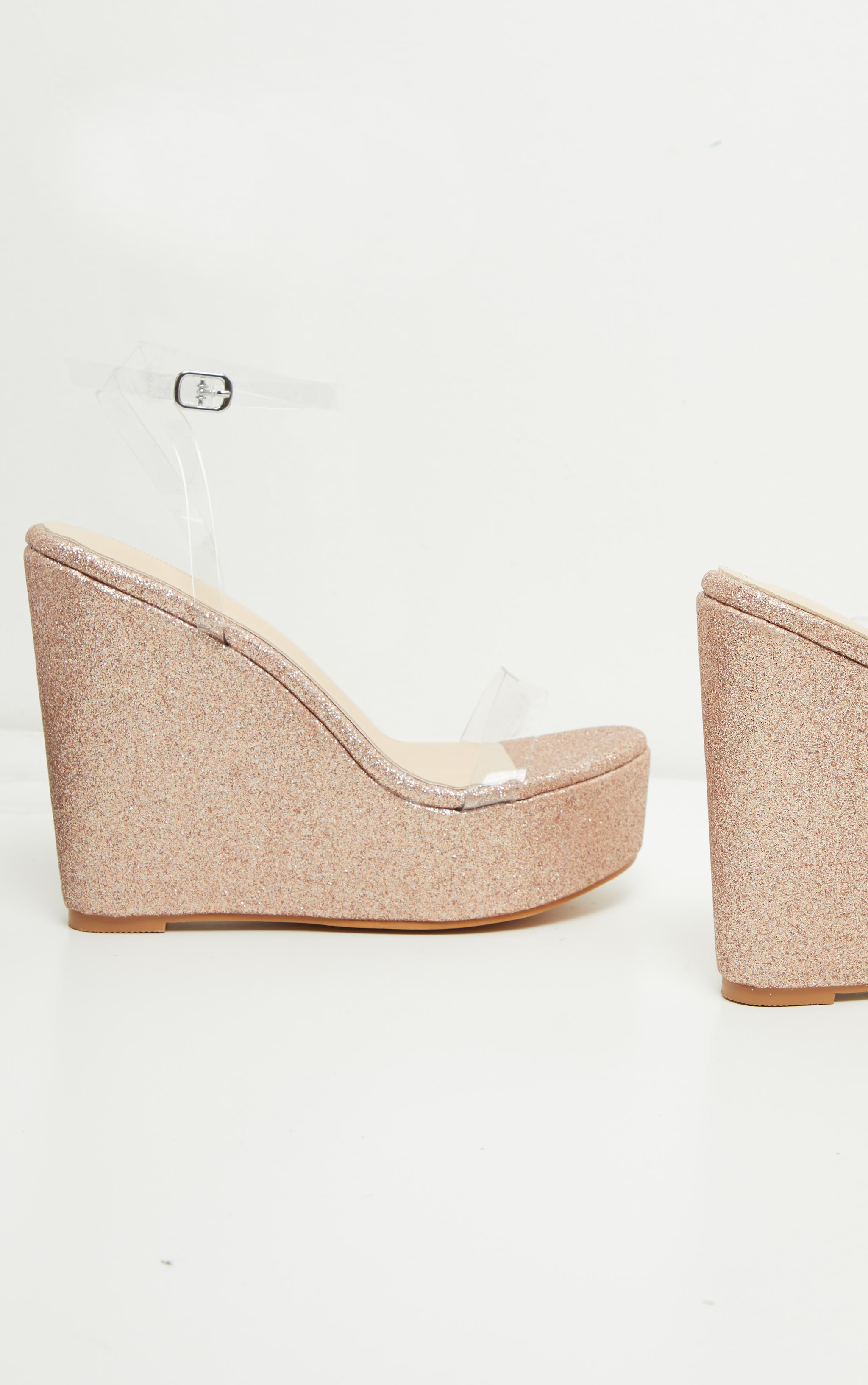 Rose Gold Glitter Clear Strap Wedges 3