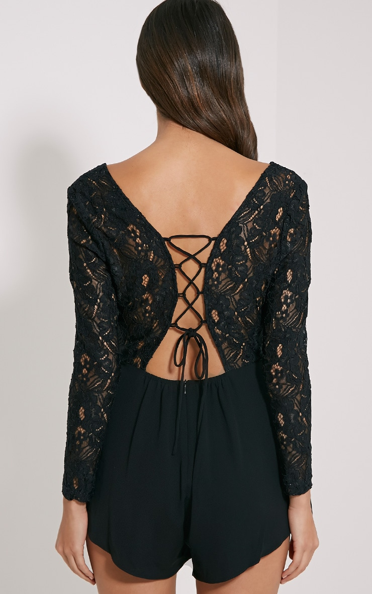 Angelica Black Lace Up Back Playsuit 2