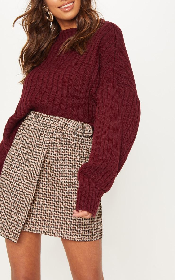 Chocolate Dogtooth Check Buckle Detail Mini Skirt 6