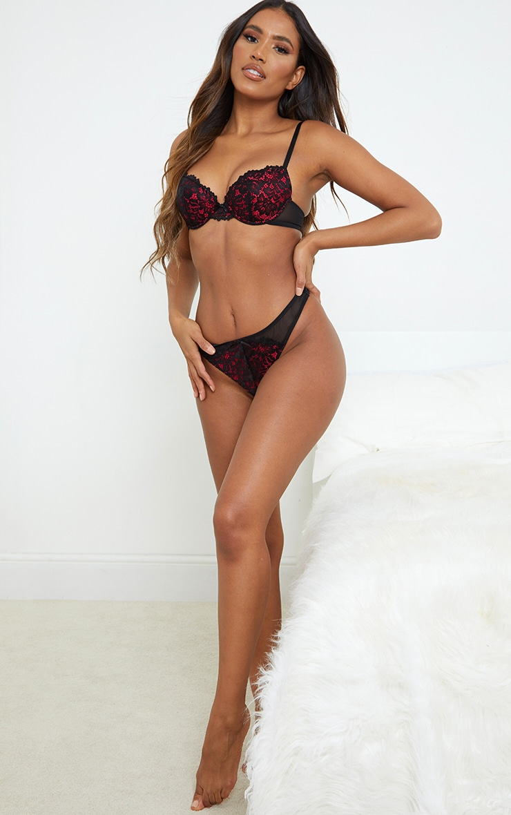 Red Ann Summers Contrast Lace Plunge Bra 3