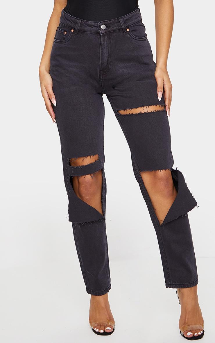 Washed Black Slit Knee Straight Leg Jeans 2