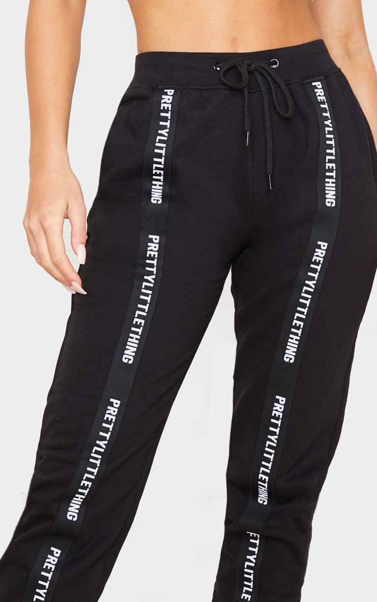 PRETTYLITTLETHING Black Tape Detail Jogger 5