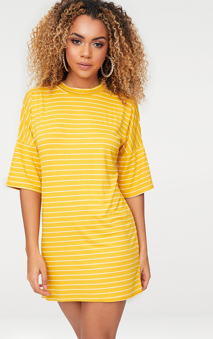 Mustard Striped Oversized T Shirt Dress 1