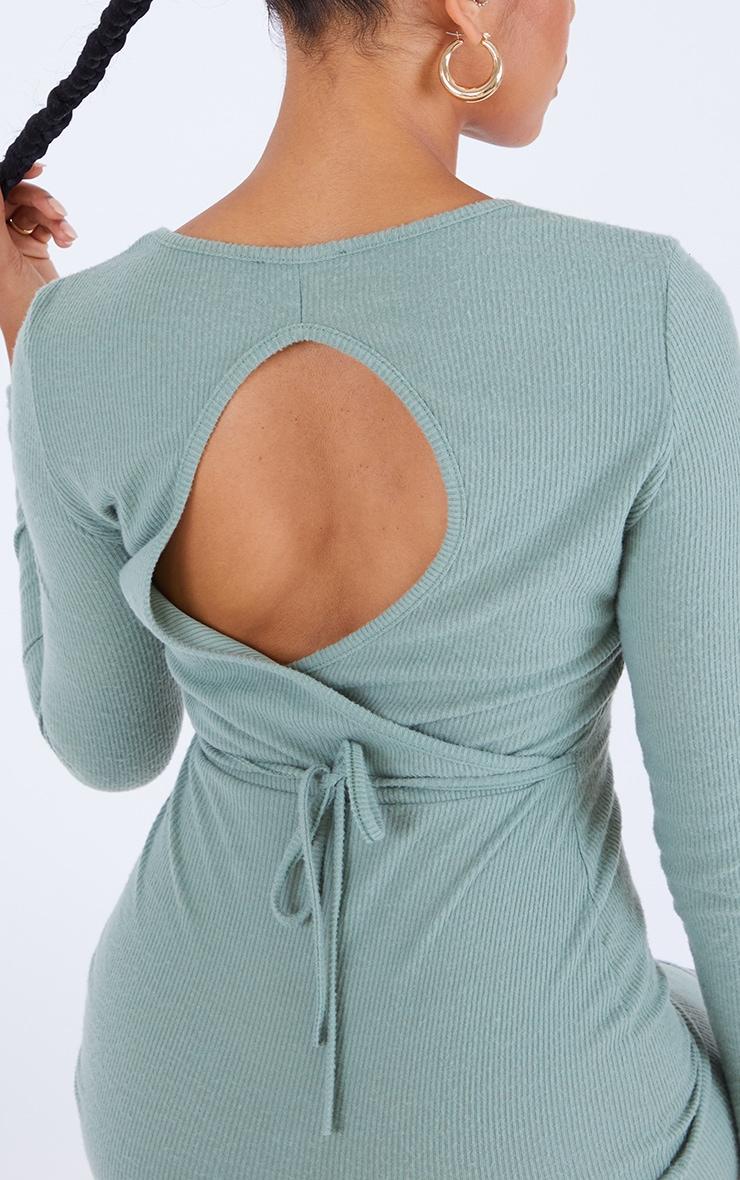 Sage Green Brushed Rib Wrap Back Tie Detail Bodycon Dress 4