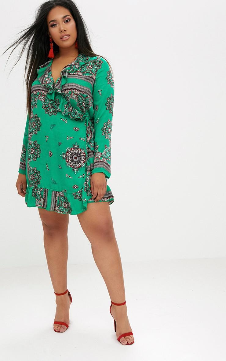 Plus Green Scarf Ruffle Wrap Dress 4