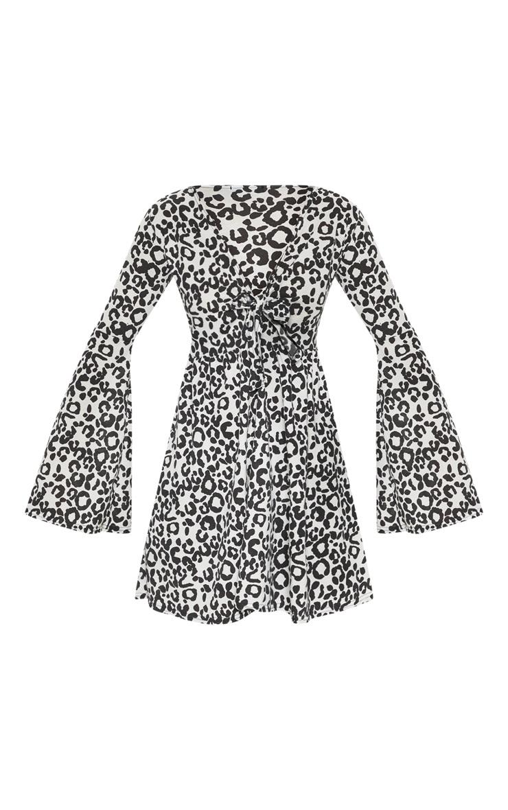 Black Leopard Tie Front Jersey Skater Dress 3