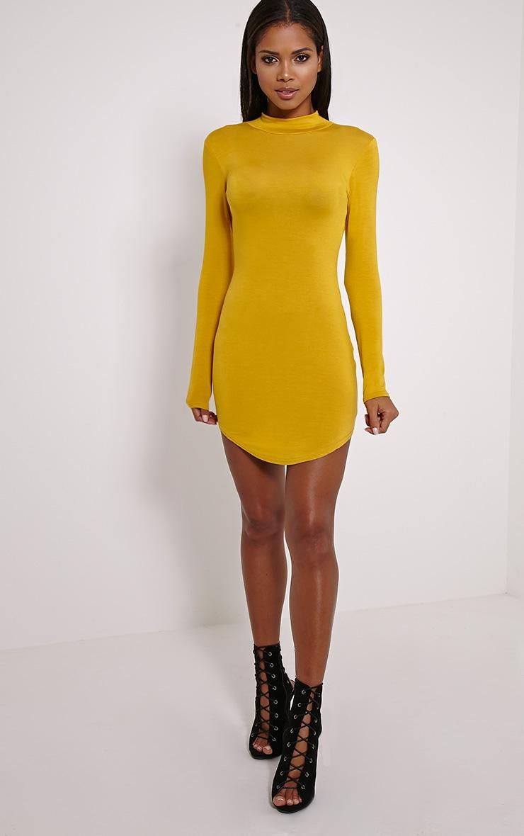 Alby Mustard Curve Hem High Neck Dress 3