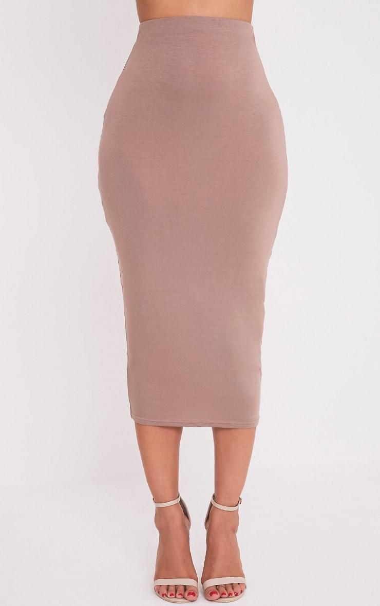 Basic Taupe Long Line Midi Skirt 2