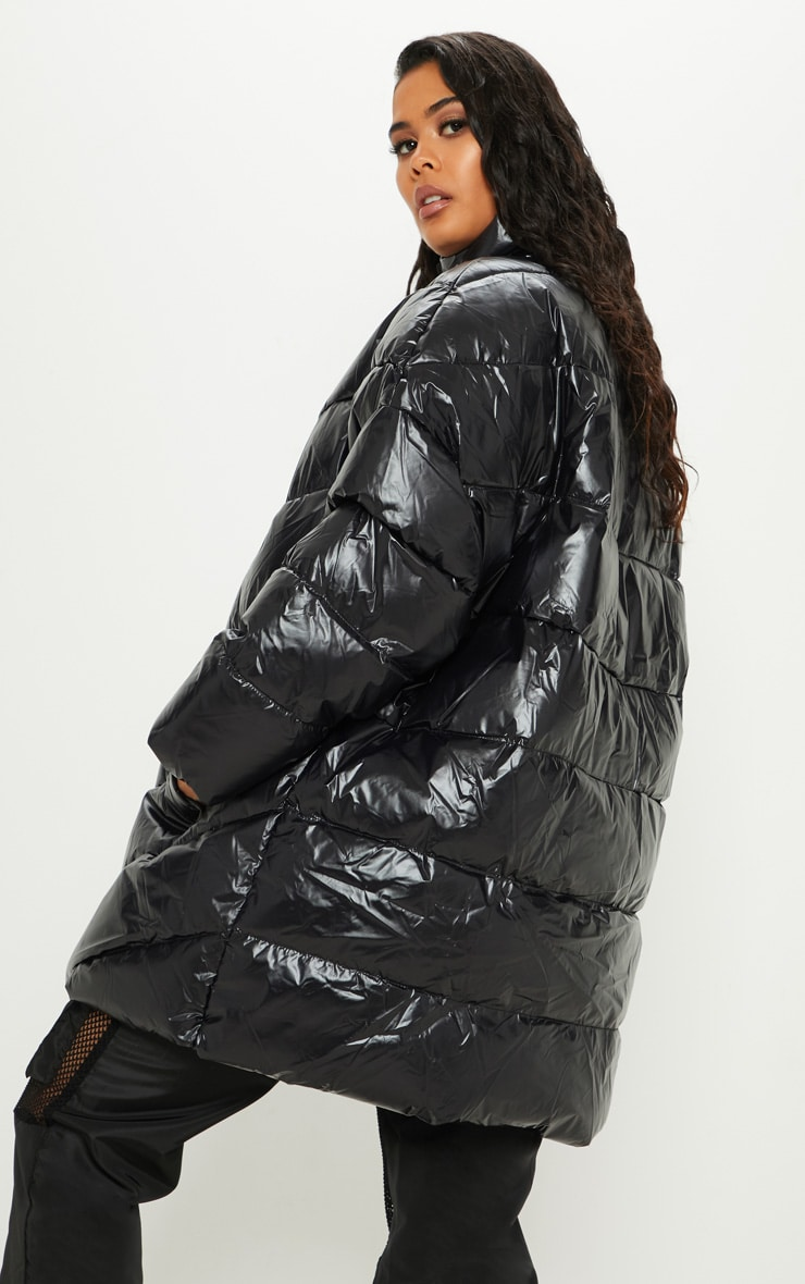 Black  High Shine Oversized Puffer  2
