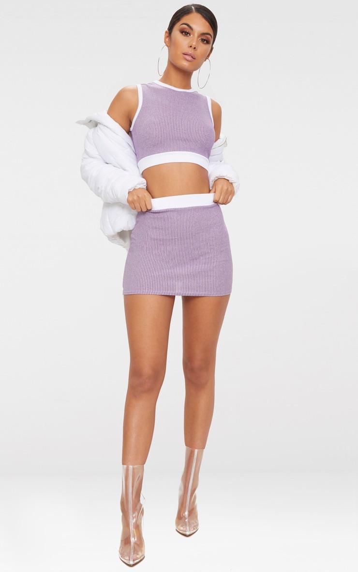 Lilac Contrast Rib Mini Skirt  5