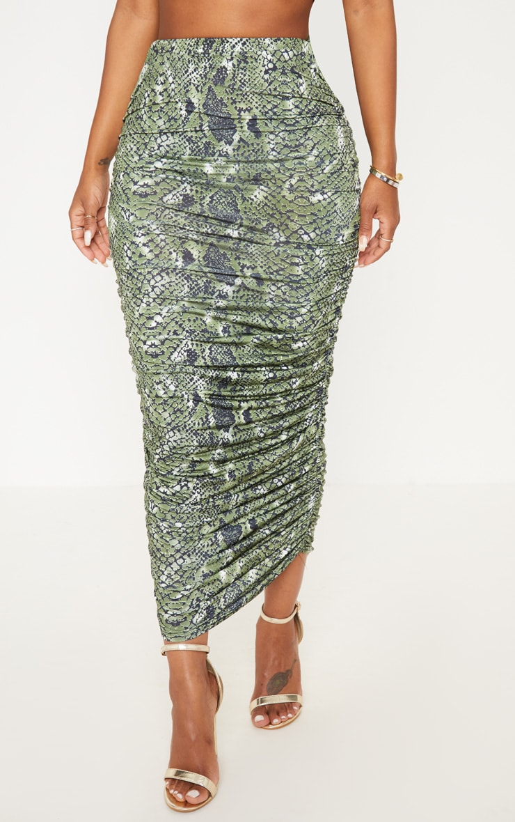 Shape Green Snake Print Ruched Midi Skirt 2