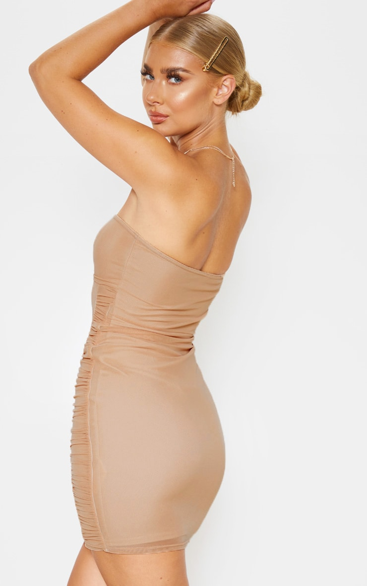 Nude Mesh Bandeau Ruched Detail Bodycon Dress 2