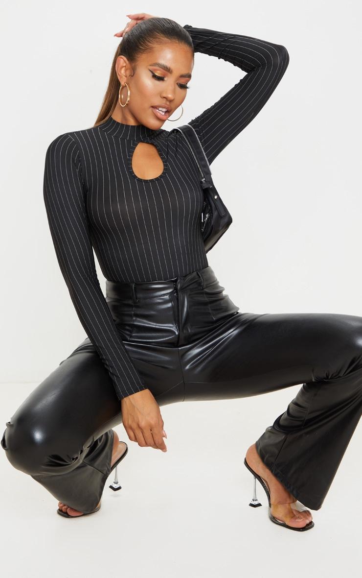 Black Pinstripe Slinky Key Hole High Neck Bodysuit 3