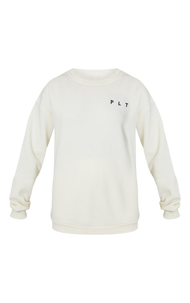 PRETTYLITTLETHING Cream Crew Neck Sweatshirt 5