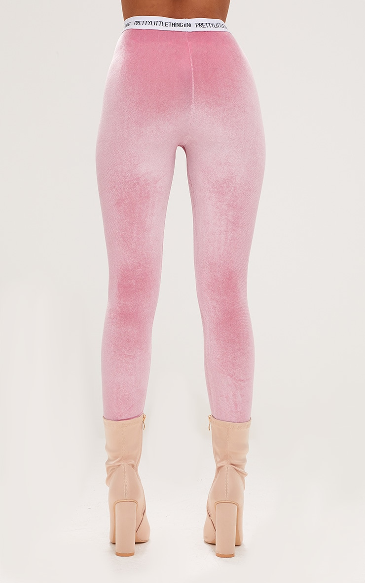 PRETTYLITTLETHING Light Pink Velvet Leggings 4