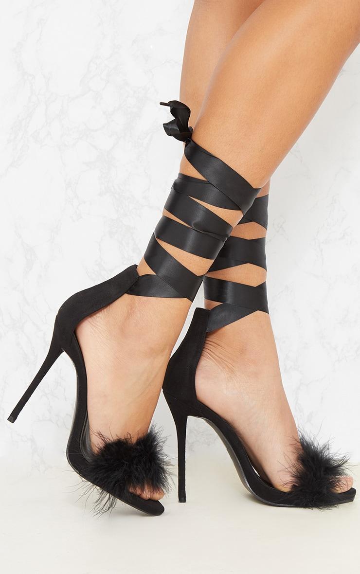 Black Fur Strappy Leg Tie Sandal 1