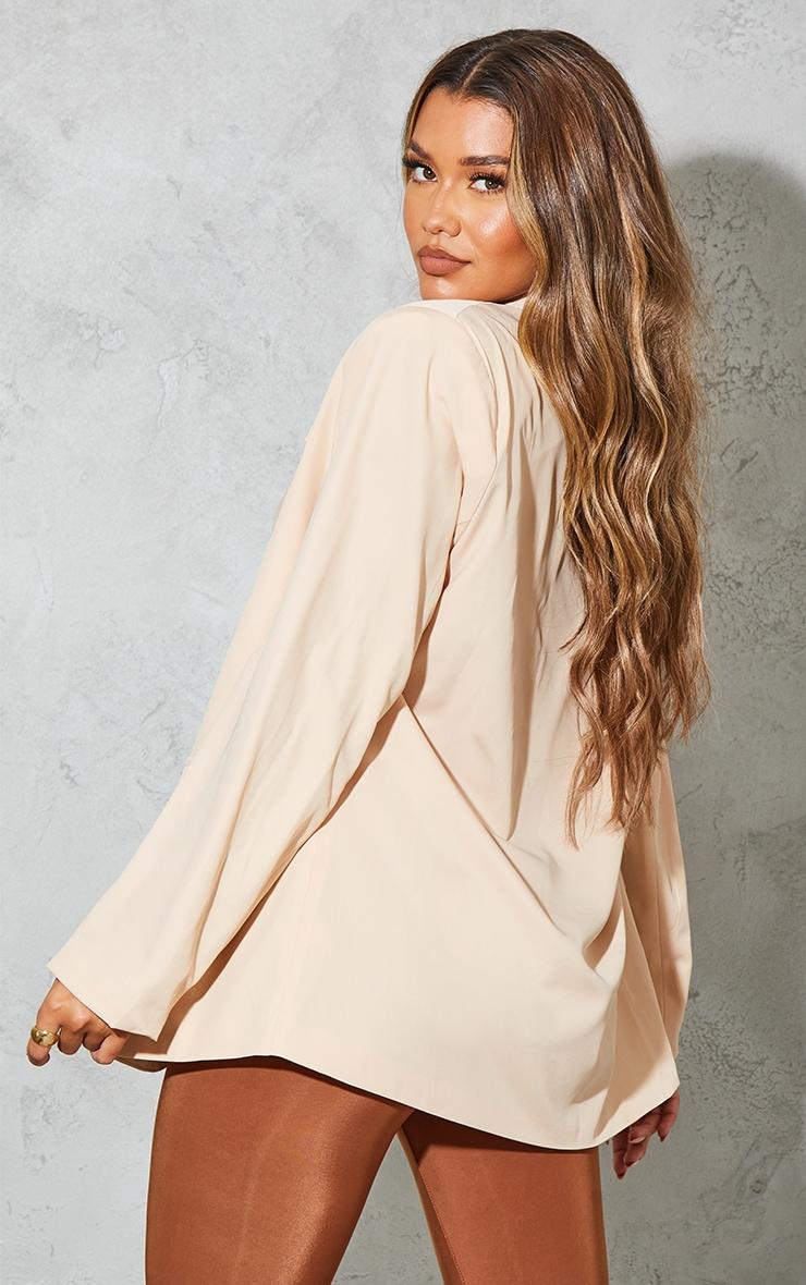 Sand Curved Lapel Woven Longline Blazer 2