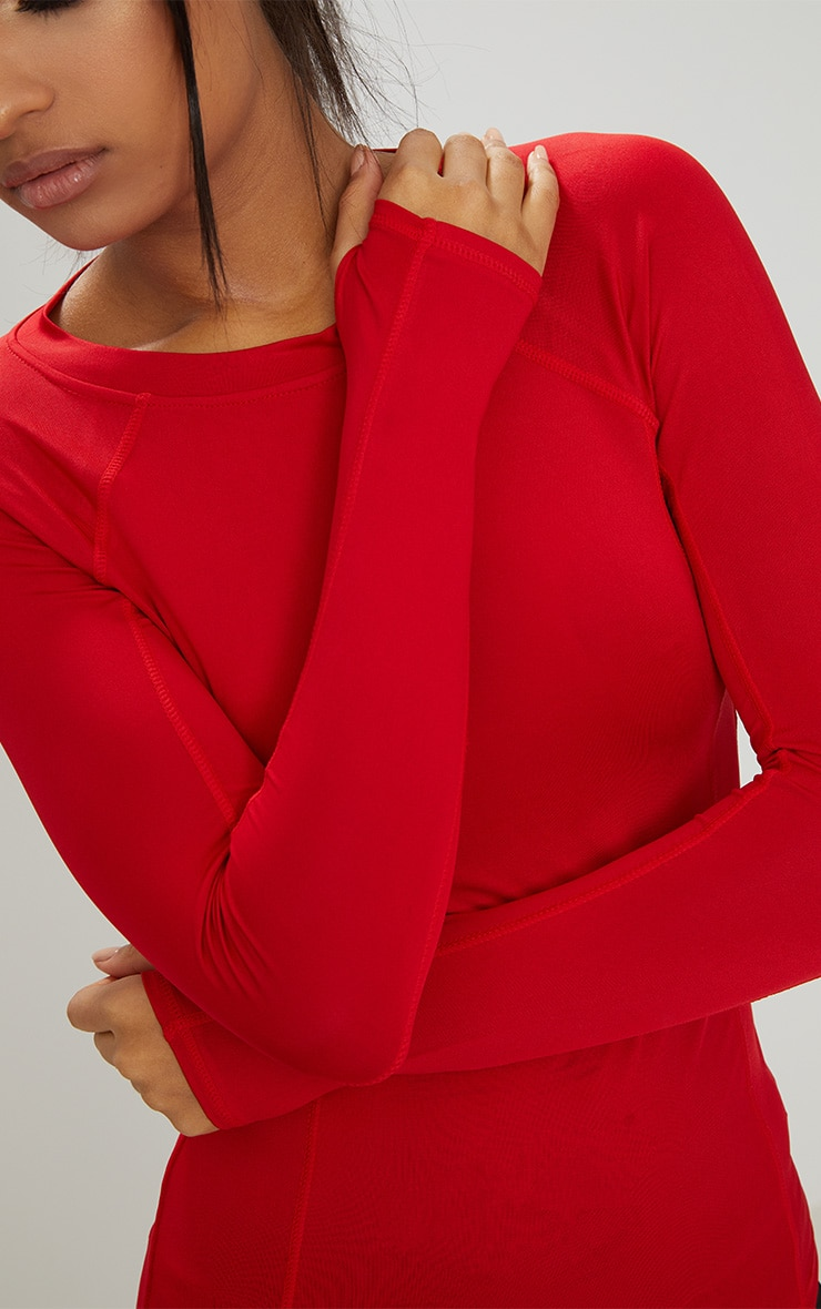 Red Long Sleeve Gym Top 5