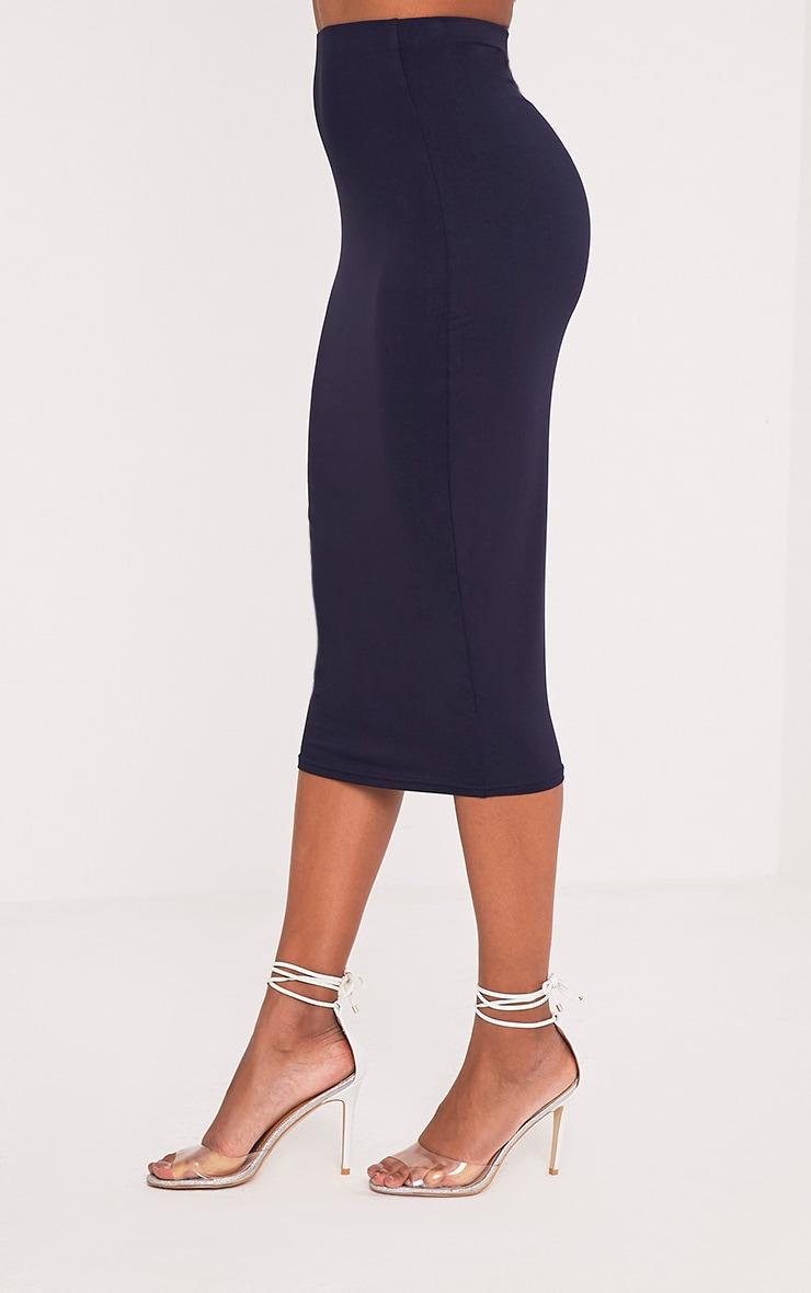 Basic jupe midi longue bleu marine 3