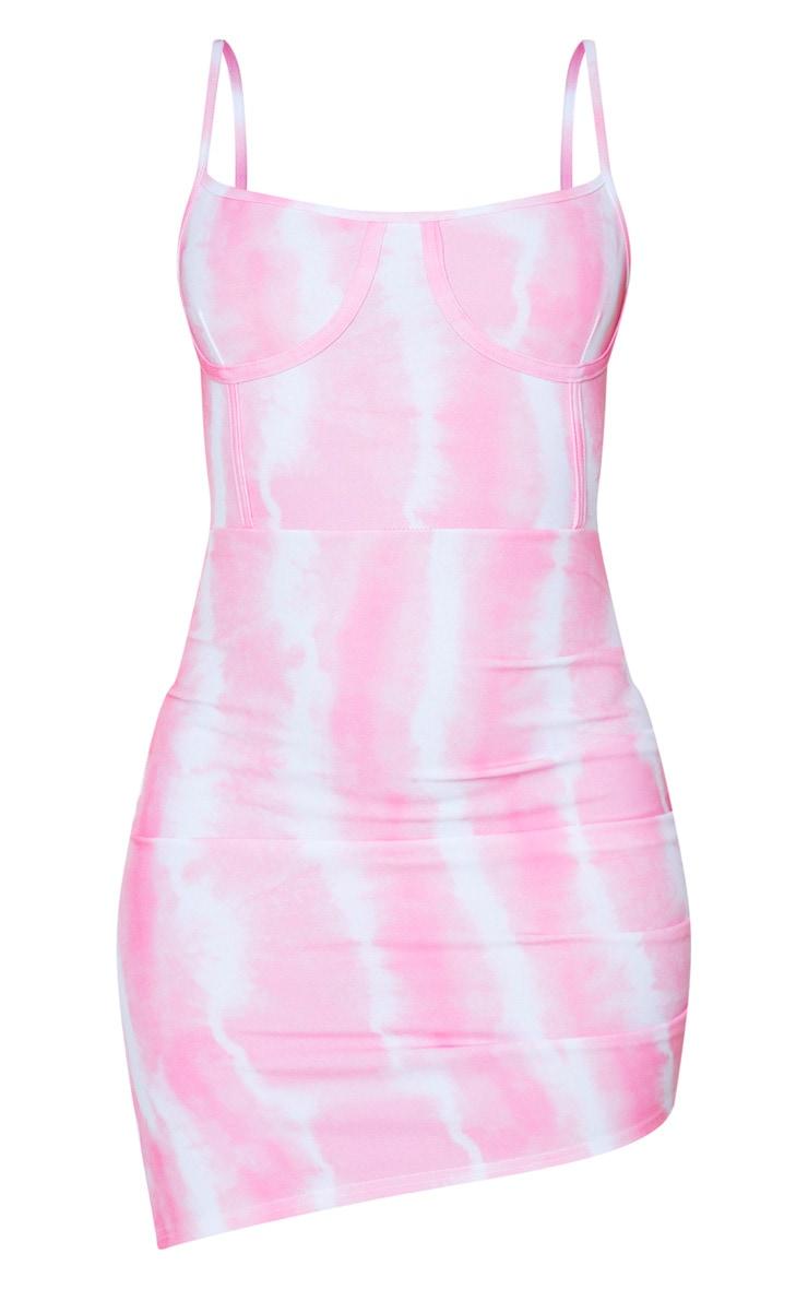 Pink Tie Dye Print Corset Detail Ruched Bodycon Dress 4