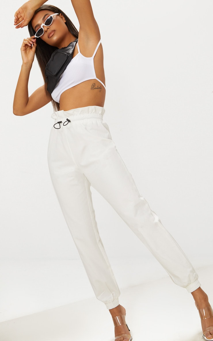 White Toggle Paperbag Waist Cargo Pants 1