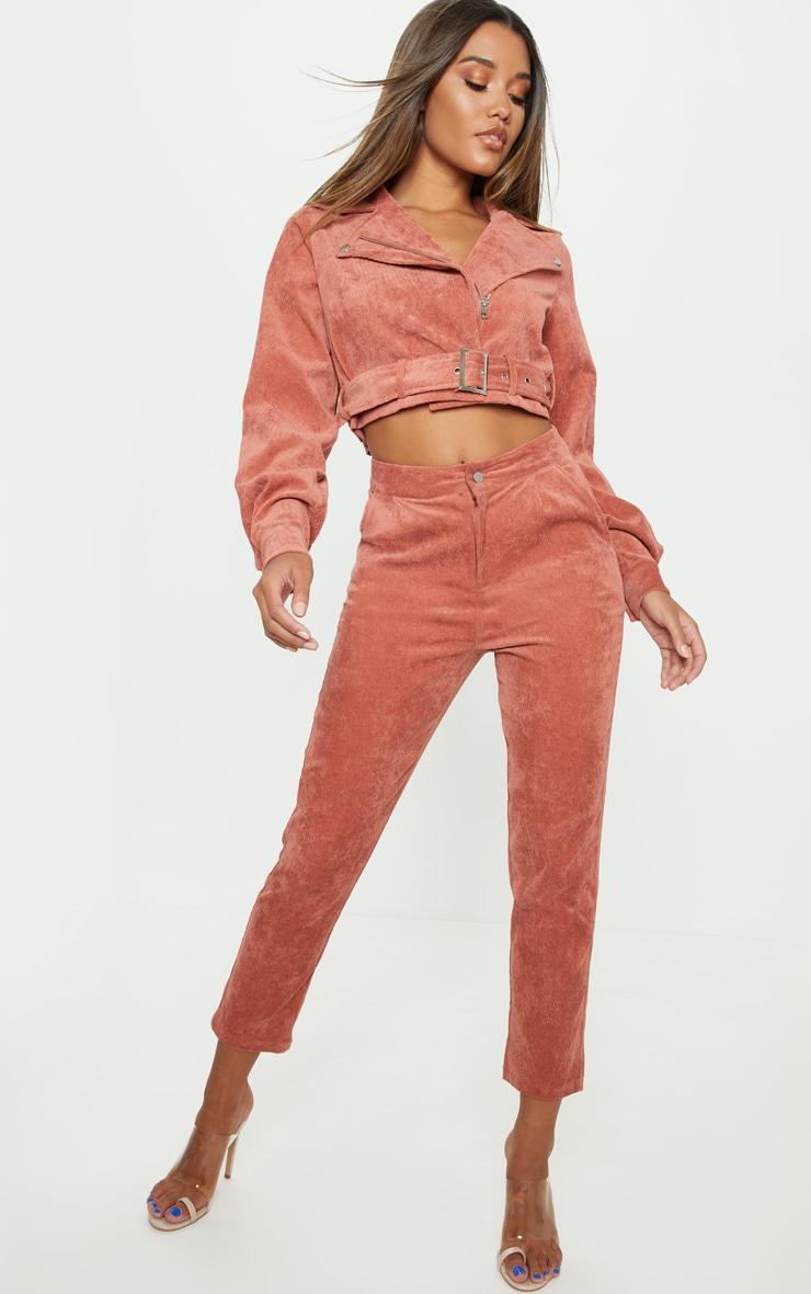 Peach Cord Biker Jacket 1