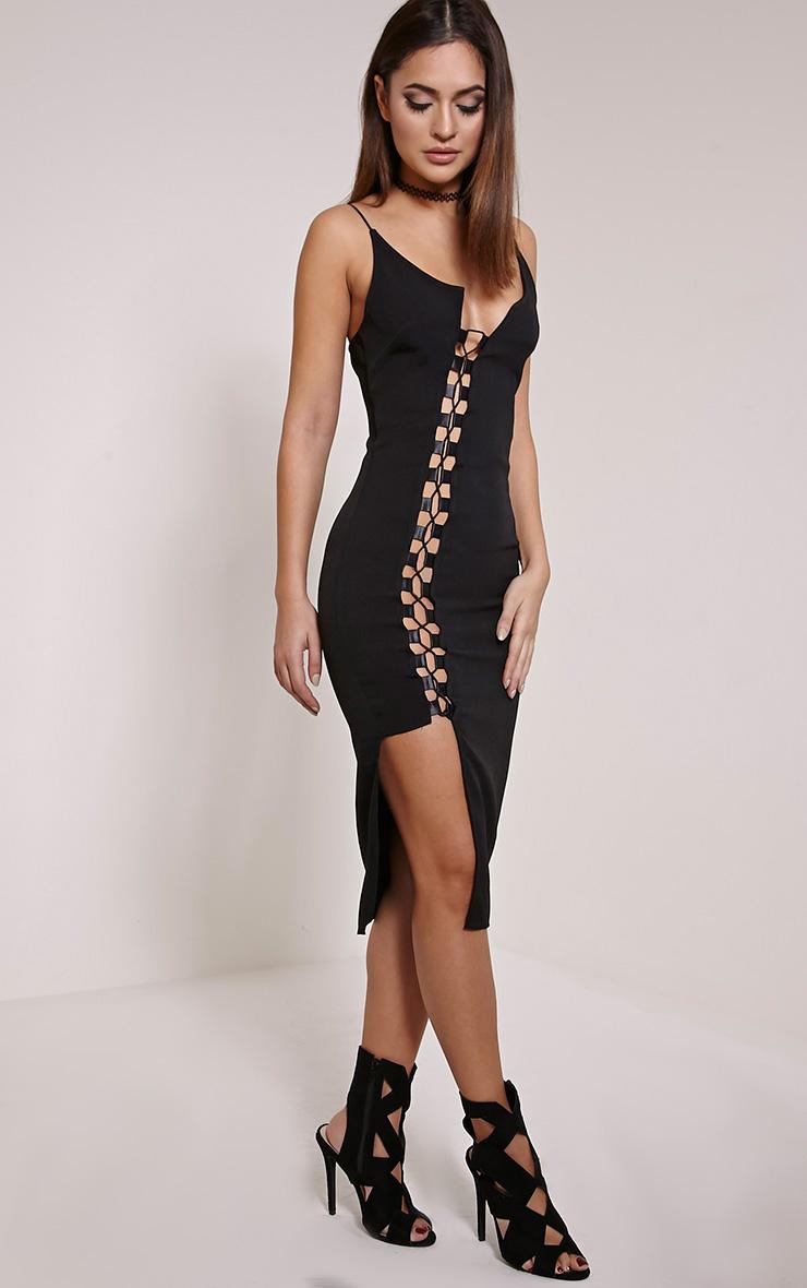 Lovina robe moulante à lacets noire 3