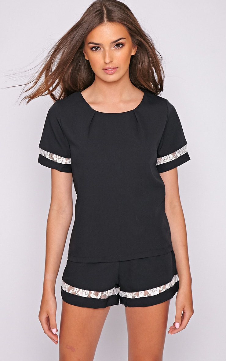 Angelina Black Boxy Top with Lace Detail 1