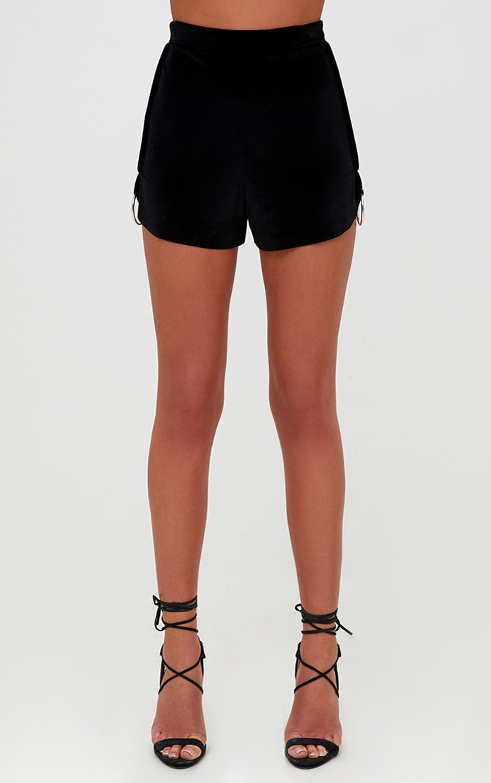 Black Velvet O Ring Detail Shorts 2