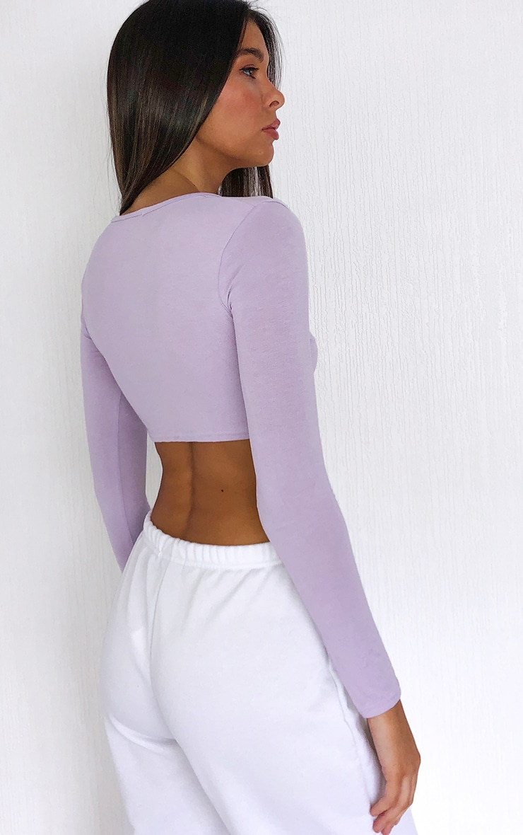 Lilac Jersey Plunge Knot Front Long Sleeve Crop Top 2