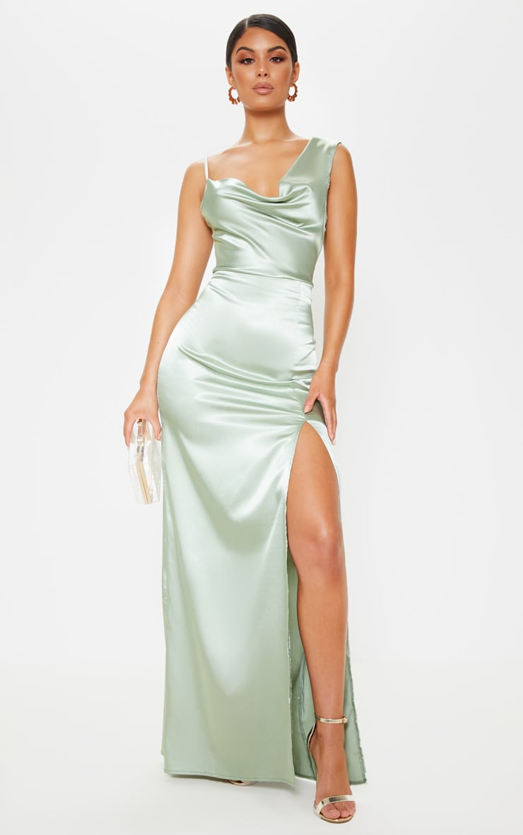 df4ae91648e Sage Green Satin Cowl Neck Maxi Dress image 1