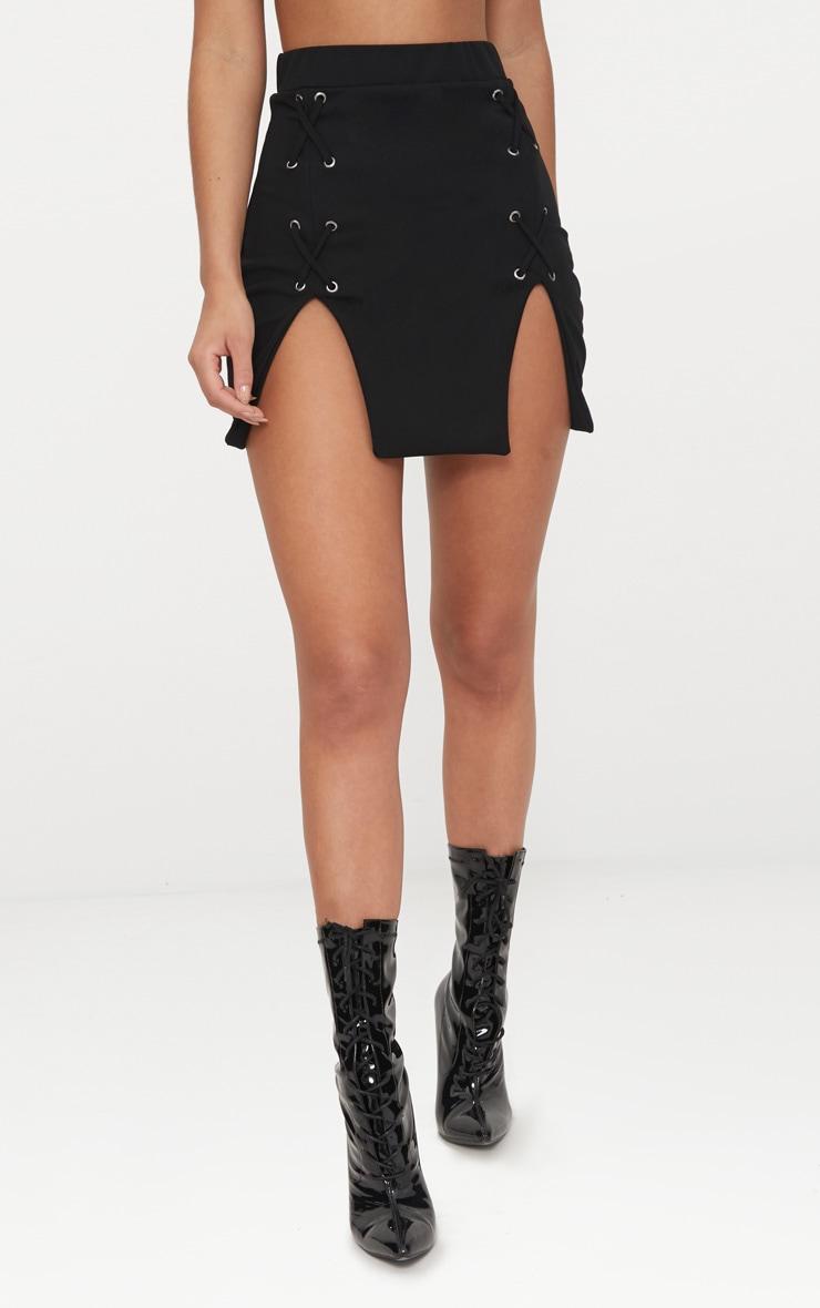 Black Split Hem Lace Up Mini Skirt 2