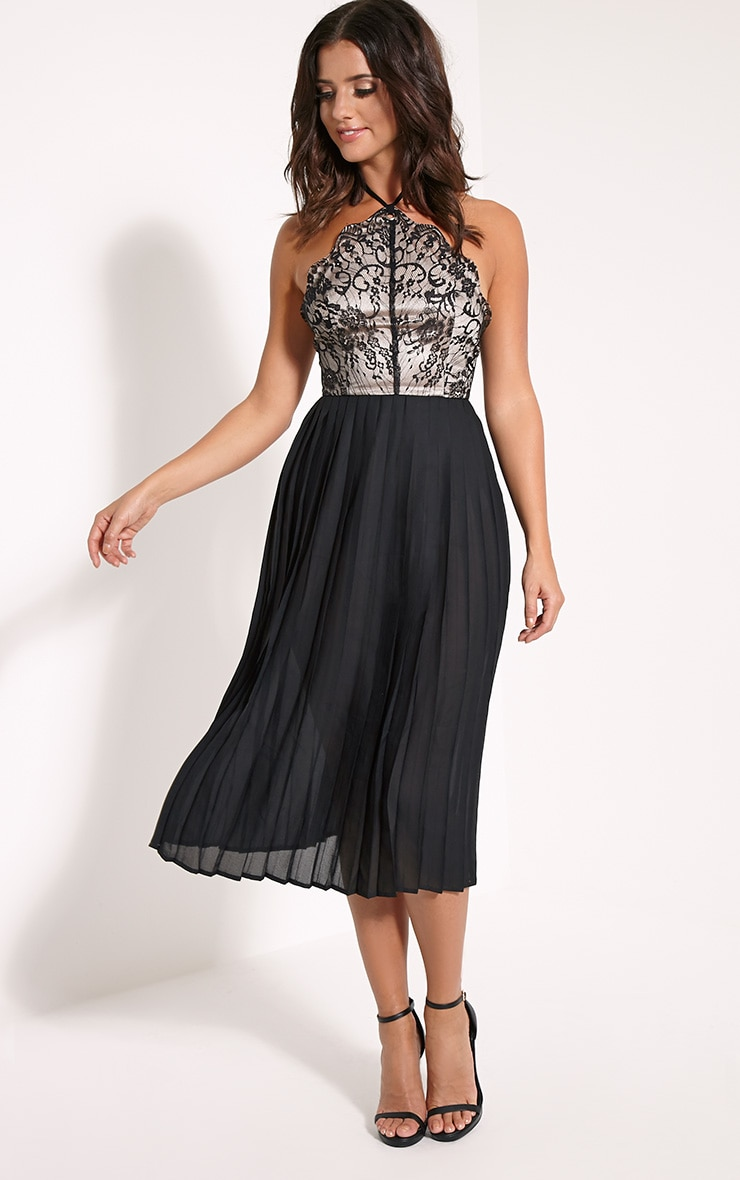 Cristabel Black Lace Halterneck Pleated Midi Dress 4